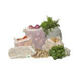 Reusable Produce Bags - ORGANIC COTTON Mesh Vegetable BAGS - 6 Bags (2 Large, 2 Medium, 2 Small) | Organic Cotton Mart