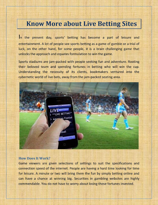 Want To know More about Live Betting Sites