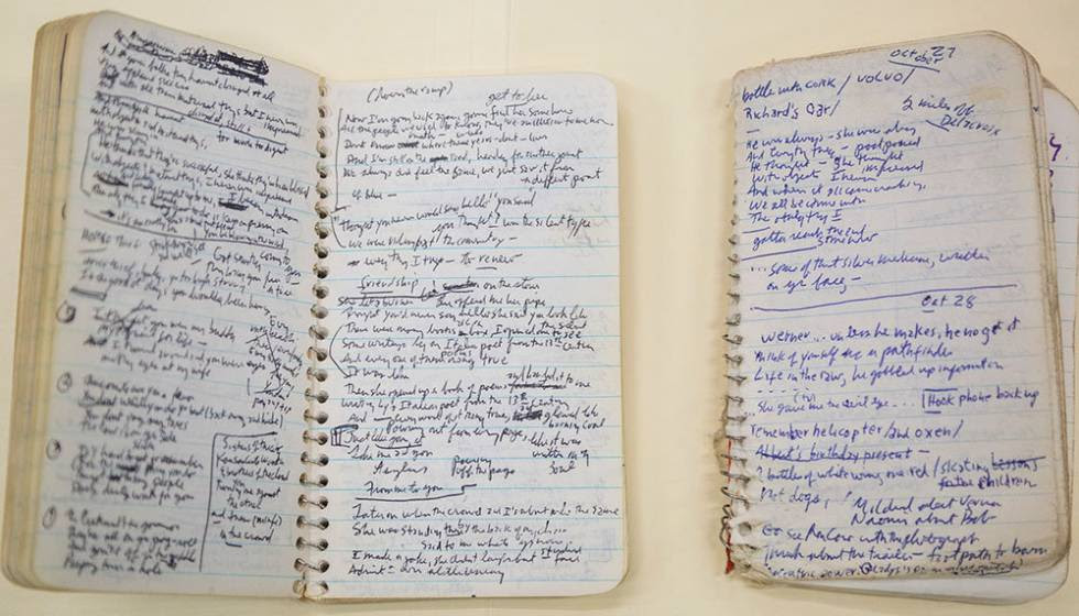 Libreta con anotaciones de Bod Dylan.