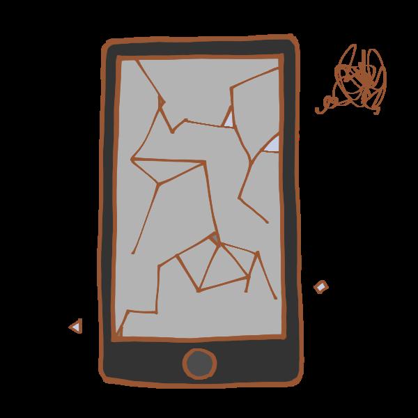 壊れたスマートフォンのイラスト かわいいフリー素材が無料のイラスト
