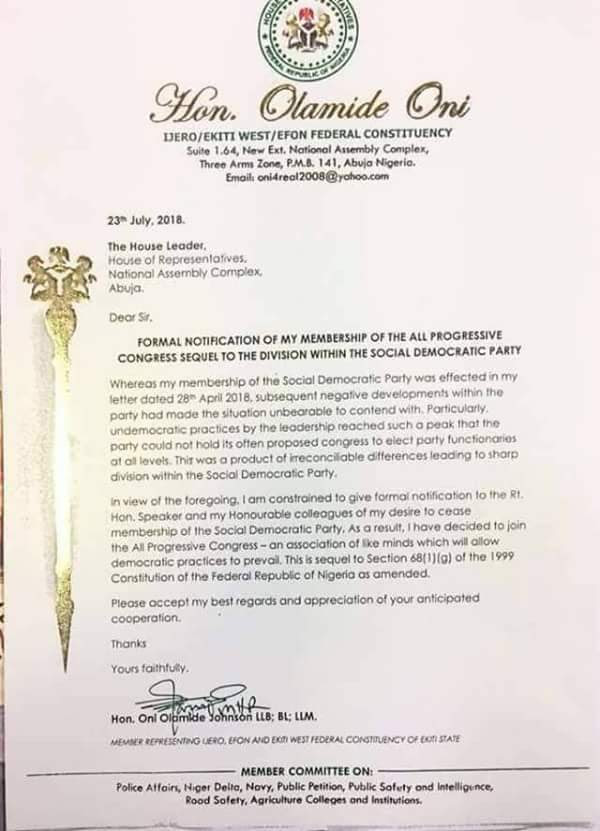 Ekiti House Of Reps Member Defects To APC, Sends Letter To Gbajabiamila (Photo)