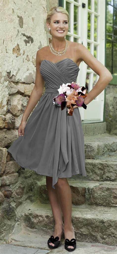 Simple Cheap Silver Grey Bridesmaid Dresses Knee Length