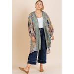 Sheer Animal Scarf Mixed Print Long Puff Sleeve Open Front Long Kimono