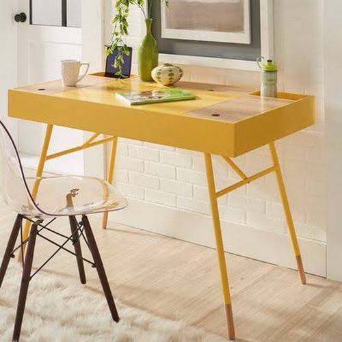 Mercury Row Chiesa Writing Desk Finish Yellow