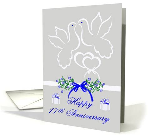 17th Wedding Anniversary, white doves kissing card (921733