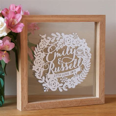 personalised first wedding anniversary papercut by sas