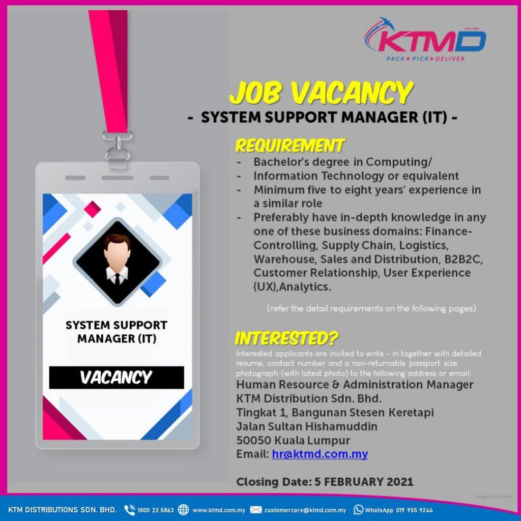Jawatan Kosong KTM Distribution Sdn Bhd • Jawatan Kosong ...