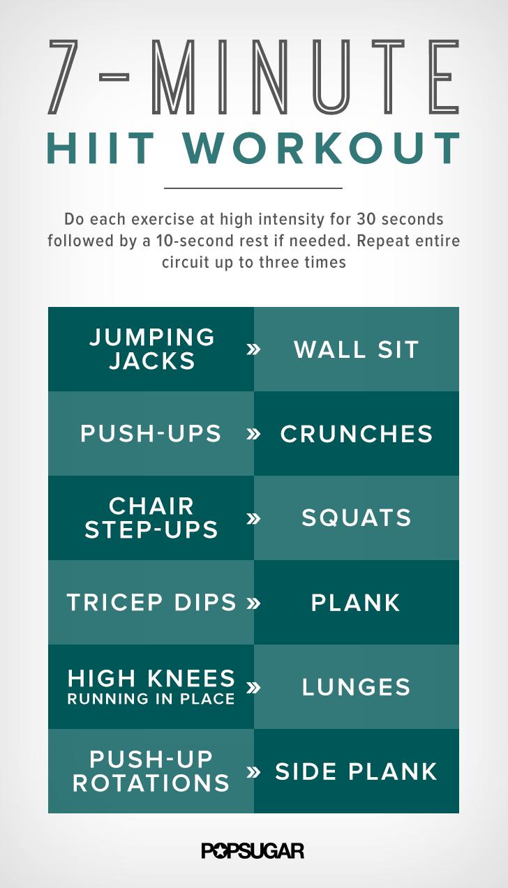 7-Minute HIIT Workout Printable Poster | POPSUGAR Fitness