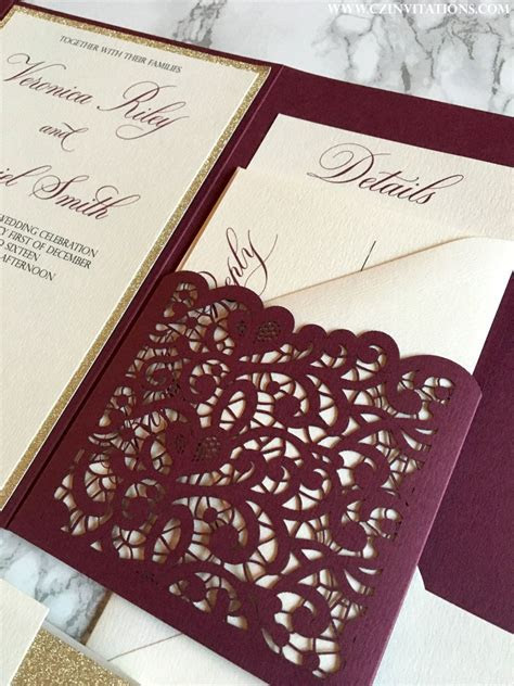 Laser Cut Pocket Wedding Invitation, Burgundy and Gold