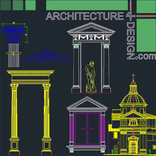 500 classical architecture facades elements for Autocad (DWG file) | Architecture for Design