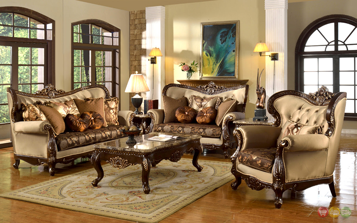 Antique Style Traditional Wing Back Formal Living Room ...