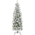 Best Choice Products 7.5ft Pre-Lit Artificial Snow Flocked Pencil Christmas Tree Holiday Decoration w/ 350 Clear Lights - Green