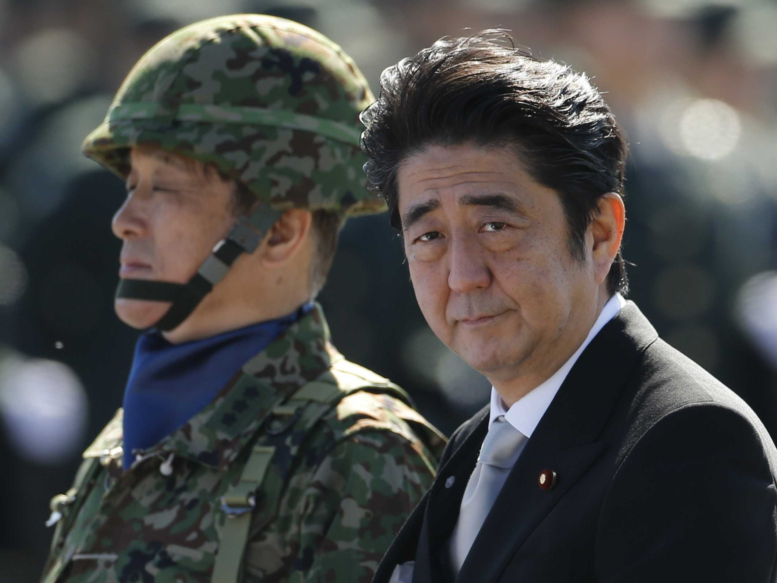 Image result for Prime Minister Shinzo Abe military photos