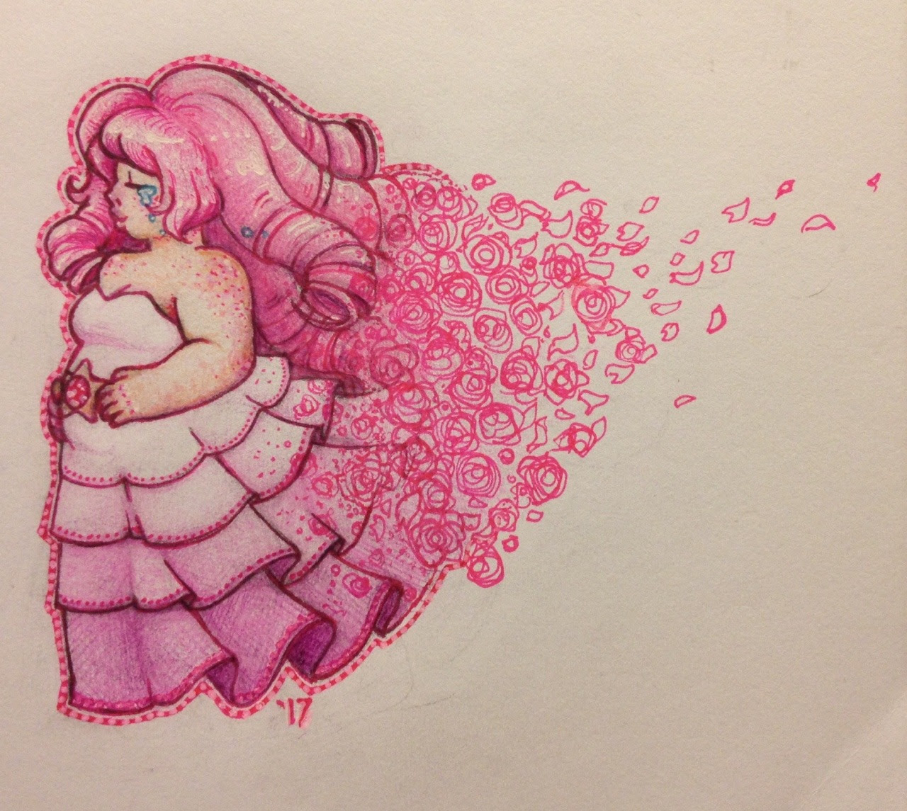 """""""🌹Rose Quartz🌹 """" Done in pens and colored pencils!!! I haven't used colored pencils in a really long time so this was pretty fun to draw"""