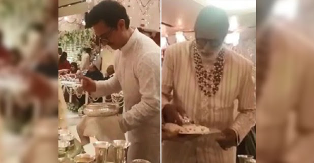 Big B and Aamir Khan serving food at Isha and Anand's reception bash is a pure delight