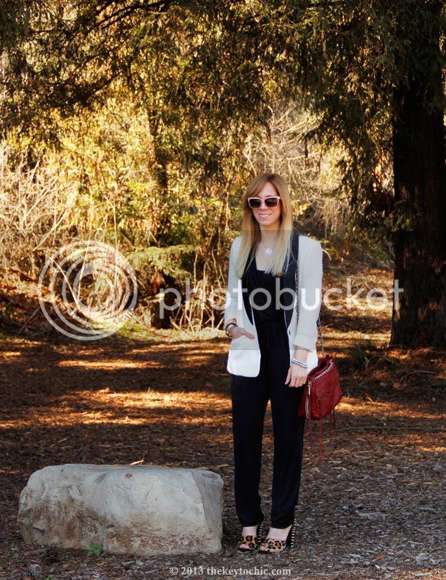 white tuxedo blazer, Kardashian Kollection jumpsuit, Zara leopard print stud heels, Rebecca Minkoff Swing bag, LA fashion blog