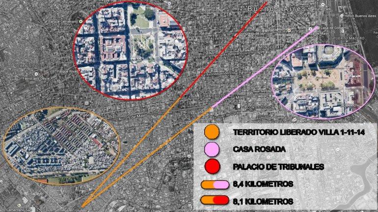 Las 15 manzanas de la villa 1-11-14 que son territorio liberado a los narcos están a 8 kilómetros de la Casa Rosada.