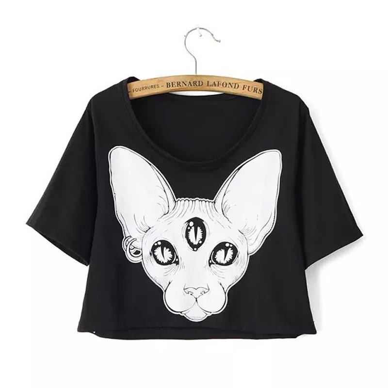Harajuku nueva llegada del verano mujeres camisetas punk gato sphynx gato camisetas impresas sin pelo canadiense elemento impreso blusas