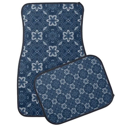 Blue and White Floral Design Car Mat