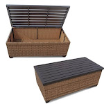 Bowery Hill Outdoor Wicker Storage Coffee Table in Caramel - BH-639930