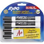 Expo Marker, Dry Erase, Low Odor Ink, Black Ink, Chisel Tip - 4 markers