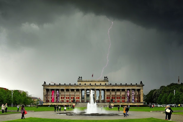 In an extraordinary photograph lightning is seen to strike the Museum Island in Berlin, Germany.