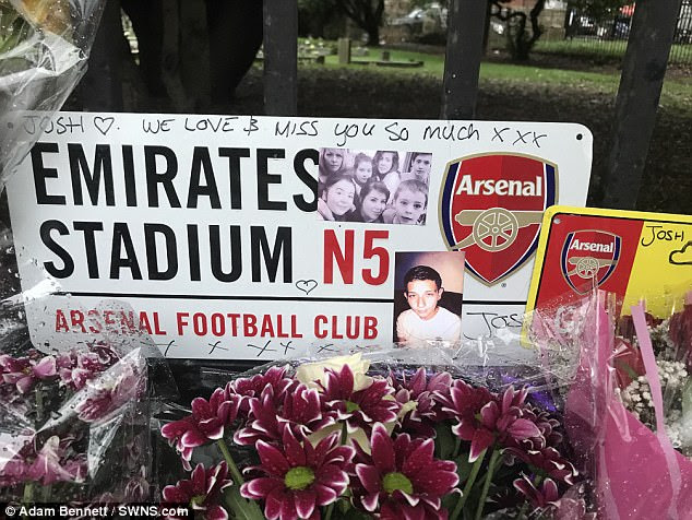 Tributes were left to Josh Kennedy, pictured next to an Arsenal badge, as he was named locally as one of the crash victims
