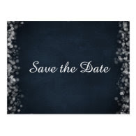 Classy Black Chalkboard Bokeh Lights Save the Date Post Cards