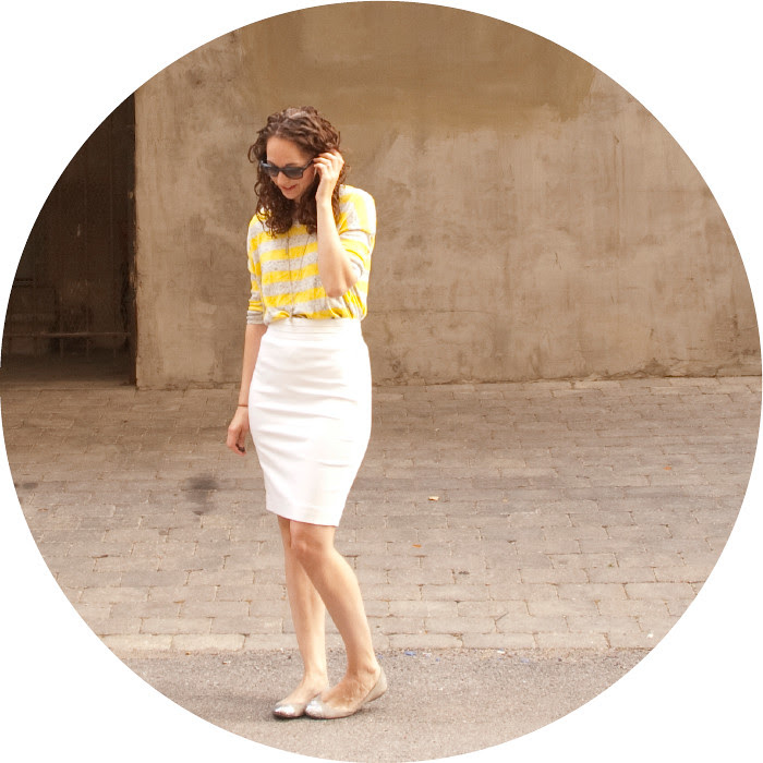 yellow striped sweater, gap stripes, marled v-neck sweater, white pencil skirt, ootd, outfit ideas, how to wear, pencil skirts for work, sometimes i dress like sunshine