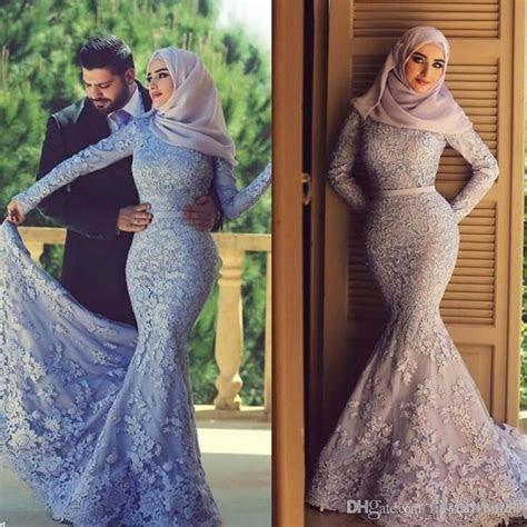 2017 Muslim Wedding Dresses Lace Long Sleeves Mermaid High