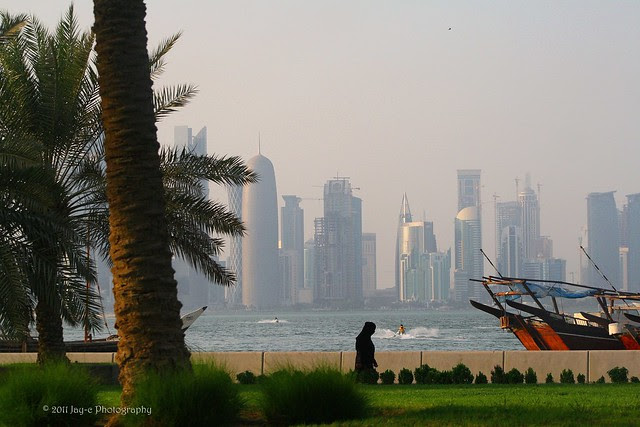 Along Corniche Area, Doha, Qatar... with City Center far back