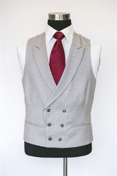Grey Double Breasted Waistcoat with a Burgandy Tie   Suits