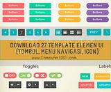 Download 27 Template Elemen UI (Tombol, Menu Navigasi, Icon)