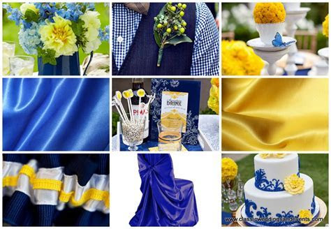 Peacock blue chair, yellow and royal blue wedding