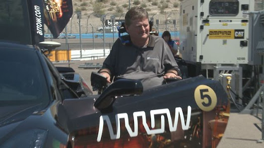 Paralyzed Indy car driver back on the track | 12NEWS.com
