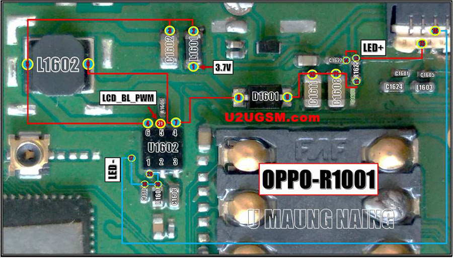 OPPO R1001 JOY LCD Display Light IC Solution Jumper Problem Ways LCD Display Light Not Working