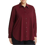 Lysse Plus Womens Collared Long Sleeves Button-Down Top, Currant