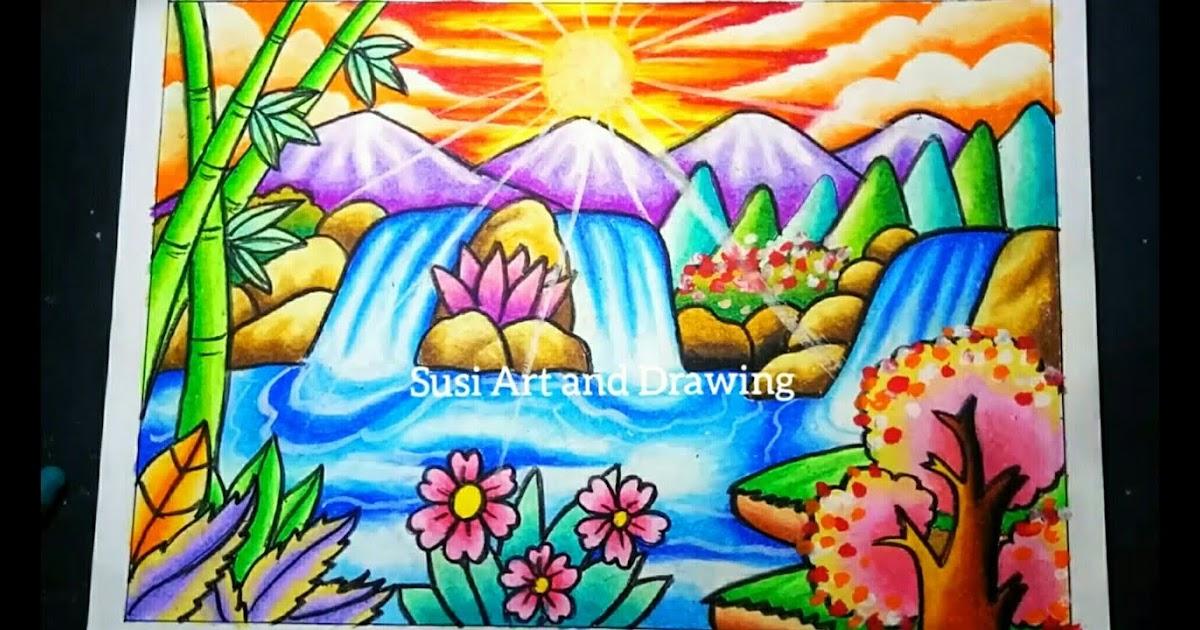 Cara Menggambar Pemandangan Gunung Yang Indah Dan Mudah ...
