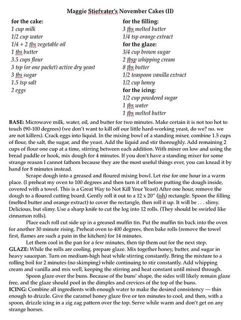 November Cakes Recipe II
