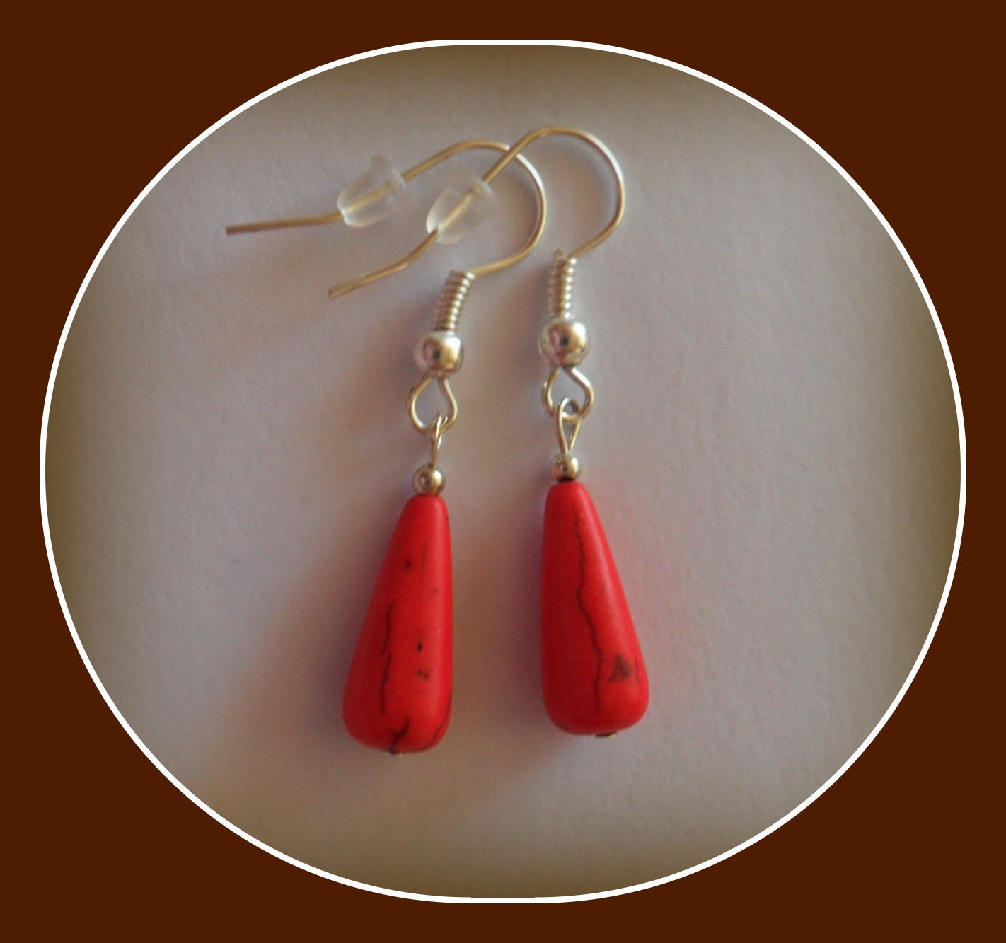 red gemstone earrings - Linskeslovelythings