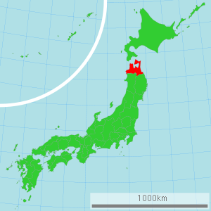 Map of Japan with Aomori highlighted