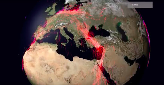 This animated globe showing animal migration routes is mesmerizing