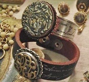 stamped leather and epoxy clay cuffs by Nunn Design