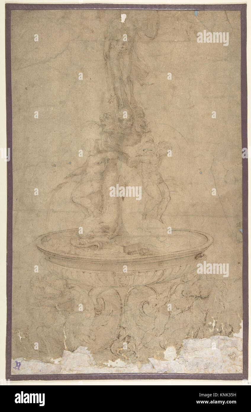design for a fountain with sea horses and triton base basin dolphins KNK35H