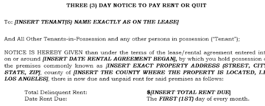 How do I Fill Out a 3 Day Notice to Pay Rent or Quit in California?