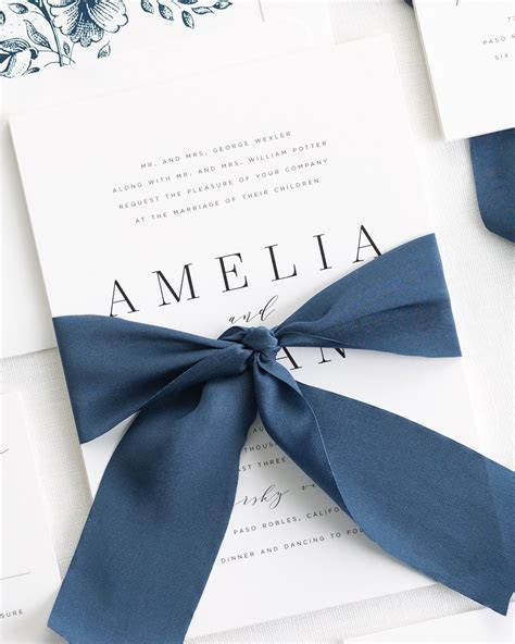Amelia Ribbon Wedding Invitations   Ribbon Wedding