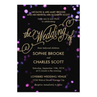 Bokeh Glam Faux Gold Glitter Wedding Invitation