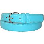 CTM Women's Leather 1 1/8 inch Fashion Dress Belt Turquoise