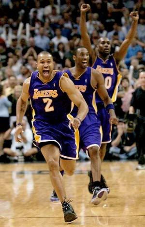 Derek Fisher, Kobe Bryant and Gary Payton react after Fisher's '0.4' shot against the San Antonio Spurs in the 2004 Western Conference Semifinals.