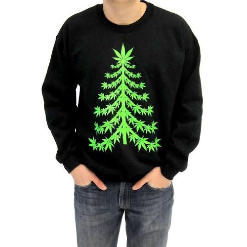 Costume Agent Ugly Christmas Marijuana Christmas Tree Sweatshirt
